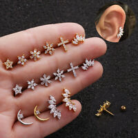 Crystal Bar Barbell Ear Cartilage Tragus Helix Studs Piercing Earrings Jewelry&j