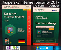 Kaspersky Internet Security 2017 Upgrade 5 Geräte Box + Handbuch (PDF) OVP NEU