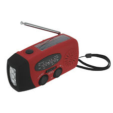 Portable Handy Red Emergency 2 in 1 Radio Solar 3-LED Flashlight Torch w/Charger