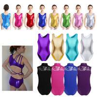 Kid Girl Wet Look/Lace Gymnastics Ballet Dance Leotard Camisole Jumpsuit Costume