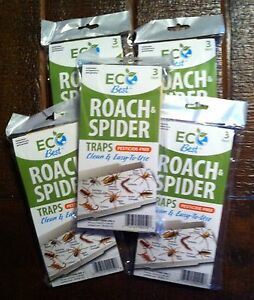 Roach spider Insect glue traps w/attractant EcoBest pesticide free NEW 15 traps