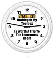 Toolbox Warning Wall Clock - Garage Workshop Shop Tools FUNNY GREAT GIFT