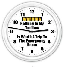Toolbox Warning SILENT Wall Clock - Garage Workshop Shop Tools FUNNY GREAT GIFT