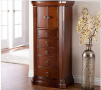 Large Jewelry Armoire Free Standing Vintage Cabinet Chest Mirror Organizer NEW