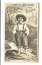 Old Trade Card Smith Brothers Pure Borax Barefoot Boy Coleman Sole Agent