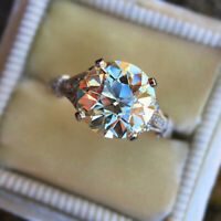 925 Silver Luxury Round Moissanite Ring Women Gift Jewelry Wholesale Size 6-10