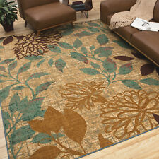"8x10 (7'6""x10') Transitional Contemporary Floral Indoor Outdoor Area Rug"