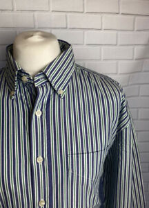 Brook Taverner XXL Regular Fit Button Green Striped