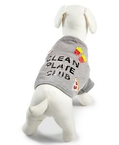 "Bow & Drape ""Clean Plate Club"" Pizza Fries Taco Pet Shirt - Large - Heather Gray"