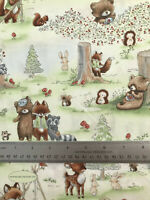 Cute Woodland Animals 100% Cotton Fabric, Fat 1/4, 1/2 Metre, Metre,