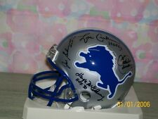 DETROIT LIONS MINI HELMET SIGNED BY 7 LIONS HALL OF FAMERS RARE!