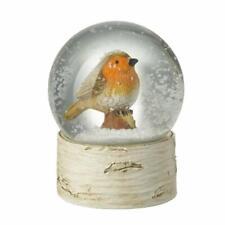 Small Robin Redbreast Christmas Snow Globe on Wood Effect Base