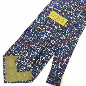 CHRISTIAN LACROIX Men's 100% Silk Necktie Designer Geo Floral Blue/Green/Red  d