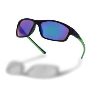Higher State Unisex Full Frame Run Sunglasses Black Green Sports Running