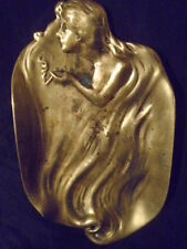 ANTIQUE VIENNA BERGMAN NOUVEAU SMOKING HAREM GIRL BRONZE CARD ASHTRAY  C. 1899