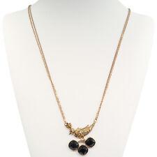 "Bird Pendant Long Chain Necklace Jewelry Antique Gold Tone Rhinestone Black 32"""
