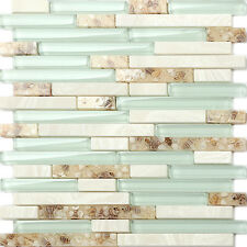 5 Sq Feet Glass Interlocking Kitchen Backsplash Beach Style Shell Tile Sea Green