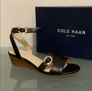 Cole Haan Terrin Black Leather Wedge Sandals Size 8.5