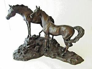 1984 Bronze Sculpture of 2 Horses INTRUDER by Lanford Monroe Franklin Gallery