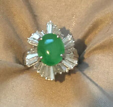 Stunning Imperial Jadeite And Diamond Ring In Platinum! Certified!