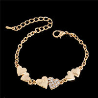 Fashion Women Jewelry Gold Crystal Rhinestone Heart Cuff Bracelet Bangle Chain