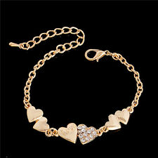 Fashion Women Jewelry Gold Crystal Rhinestone Heart Cuff Bracelet Bangle Chain