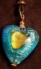 Pendant Murano Glass Heart  Necklace art lampwork collection  from art museum