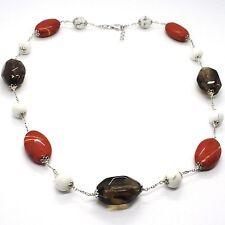 Necklace Silver 925, Jasper, Howlite, Quartz Smoke, Chain Oval