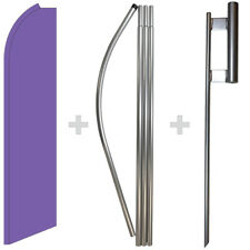 Solid Purple 15' Tall Swooper Flag & Pole Kit Feather Super Bow Banner