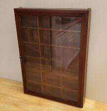 Vintage Wood Curio Display Wall Cabinet w/ Divider & Glass Door