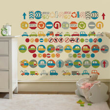 Childrens Road Signs Cars Wall Stickers Decals Nursery Boys Room Kids Bedroom