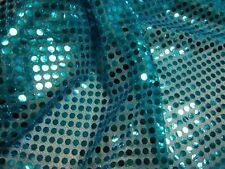 Pailletten Stoff türkis blau  6mm Durchmesser Meterware