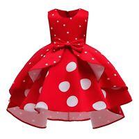 Girls Party Polka Dot Princess Dress Wedding Flower Girl Kids Dresses Xmas Gifts