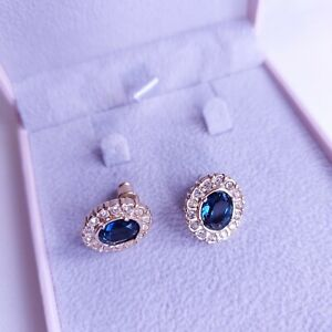 Sapphire Blue & Clear Diamante Sparkly Halo Stud Earrings, Wedding, Party, Xmas