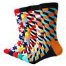 5 Pairs Mens Cotton Socks Classic Funny Colorful Argyle Puzzle Casual Dress Sock
