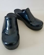 Women's Dansko Navy Patent Leather Platform Slide Clogs Mules Size EU 39 shoes
