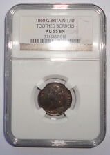 GREAT BRITAIN UK COIN  FARTHING   1860  NGC  AU 55 BN