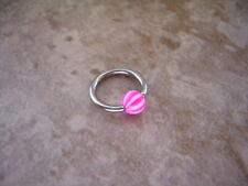 """Beach Ball Stripe Captive Bead Ring 16g  3/8"""" Lip Ear Tragus Cartilage Pink"""