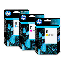 3 Pack Genuine HP 11 Cyan Magenta Yellow Ink Cartridges HP11 For 10ps 9110 9120