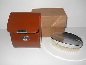 Attractive Vintage Chromium Plated Brush & Plastic Comb in Case - NEW