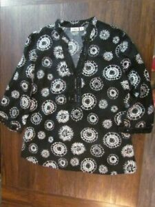 Womens Blouse Size L 3/4 Sleeve Sequin Dandelion CATO Black Classy Fashion Cute