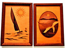 Vtg American Style Hudson River Inlay Studio Marquetry Pictures Signed Nelson