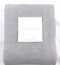 New Sferra Matelasse Coverlet Queen Quilt 100% Cotton Floral Weave In Solid  Gray