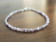 """8.00 ct natural pink color raw rough diamond beads 6.50"""" bracelet wt silver lock"""