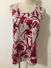 Ann Taylor Cami Sleeveless Top Blouse Bone w/Red & Pink Floral Size XS