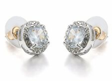STUD ROUND SILVER TONE EARRINGS MADE WITH SWAROVSKI CRYSTAL ELEMENTS UK SELLER