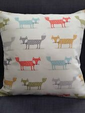 Cushion covers made in Fryetts Foxy  Fox Fabric With Blendworth Almonte Reverse