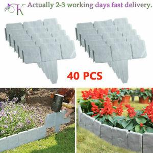 40CS Garden Border Edging Cobbled Effects Plants Flower Bed Grass Lawn Palisade