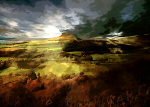 ROSEBERRY TOPPING NORTH YORKSHIRE MOORS Limited Art Print by Sarah Jane Holt