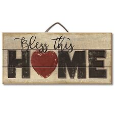 """BLESS THIS HOME Primitive Wood Hanging Sign 6"""" x 12"""""""